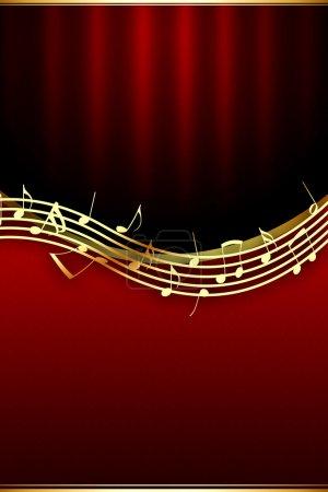 Photo pour Notes de musique d'or sur fond rouge théâtral - image libre de droit