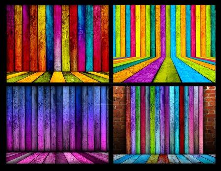 Photo pour Un ensemble de milieux en bois coloré. Veuillez visiter mon portfolio pour mote . - image libre de droit