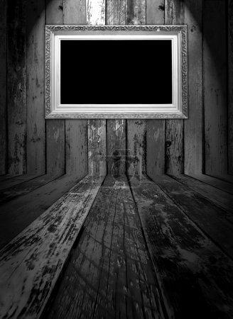 Blank Carved Gilded Frame in Dark Room