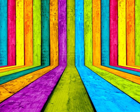 Photo for A creative multicolored wooden room as a background - Royalty Free Image
