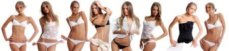 Beautiful underwear model posing on a white background