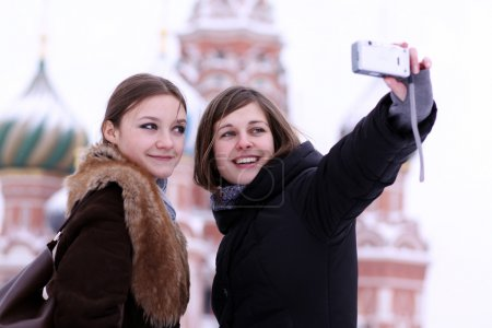 Tourists are photographed in Moscow