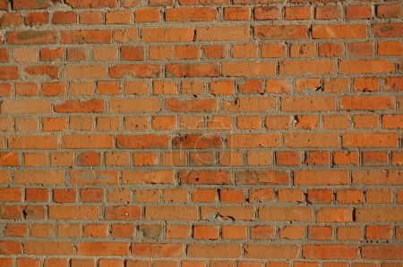 Photo for Red old brick wall with cement - Royalty Free Image