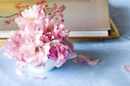 Books and flower still life