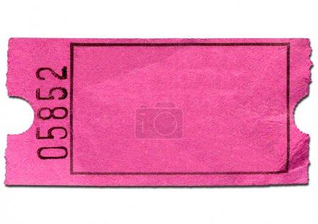 Photo pour Billet coloré admission blanc rose, isolé sur fond blanc. - image libre de droit