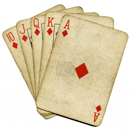 Royal flush old poker cards isolated.