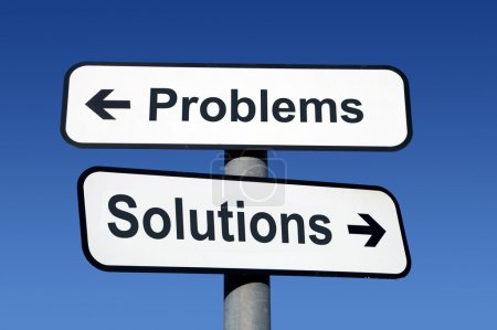 Signpost pointing to problems and solutions....