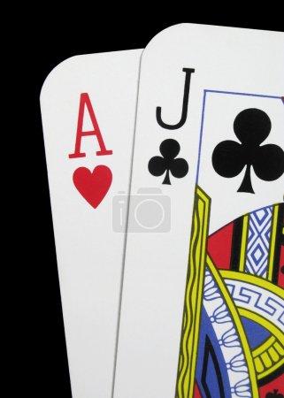 Close up blackjack playing cards