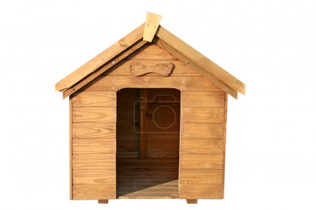 Wooden dog house isolated.