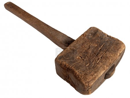 Old wooden mallet hammer isolated.