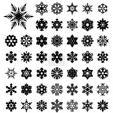 Set vector silhouette of snowflakes...