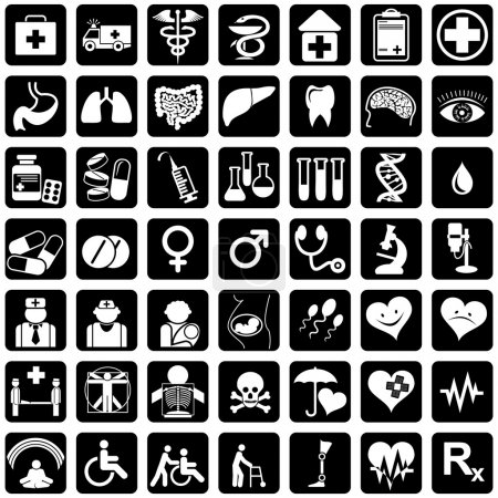 Illustration for Set of vector icons for medical theme - Royalty Free Image