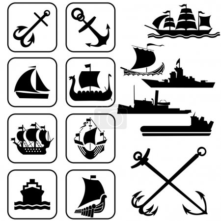 "Illustration for Set of vector icons ""one ships"" - Royalty Free Image"