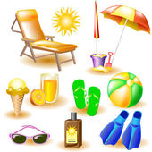 Vector icons at the beach theme