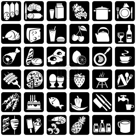 Photo for Set of vector silhouettes of icons on the food theme - Royalty Free Image