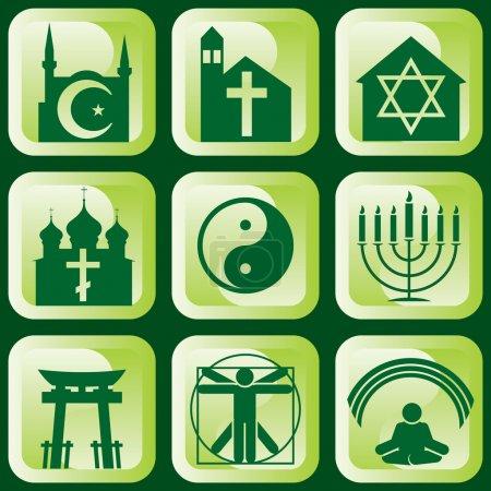 Photo pour Ensemble d'icônes vectorielles de signes et symboles religieux - image libre de droit