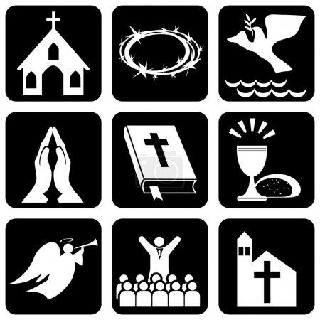 Foto de Conjunto de iconos de vector de religiosos cristianismo signos y símbolos - Imagen libre de derechos