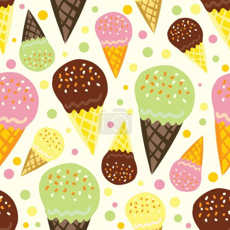 Illustration pour Modèle sans couture vectoriel de crème glacée - image libre de droit