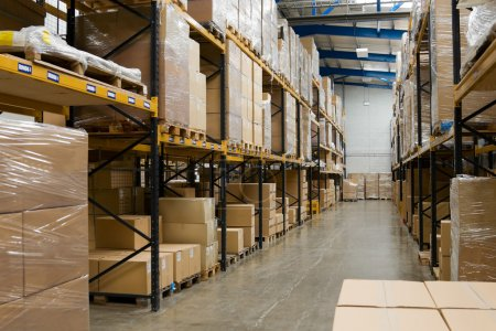 Photo for Industrial warehouse interior with shelves and pallets with cartons - Royalty Free Image