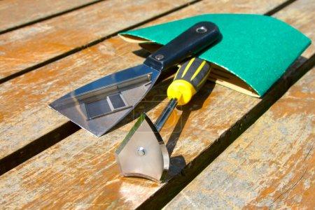 Sandpaper and art palette-knife tools