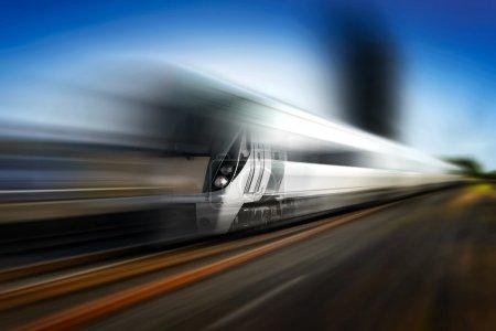 Photo pour Train moderne en mouvement et réservoirs de carburant sur fond flou, illustration photoshop - image libre de droit