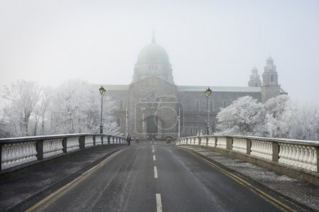 Galway Cathedral vanishing in winter fog