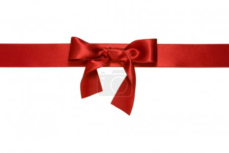 Red horizontal ribbon with bow isolated
