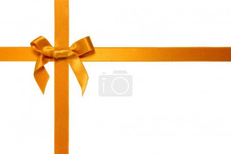 Golden cross ribbon with bow isolated