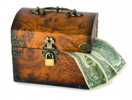 Treasure chest and dollars