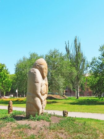 The Stone Warrior. Ancient Slavian idol.