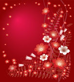Delicate floral red background
