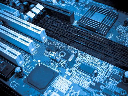 Photo for Electronic circuit board. Blue toned. - Royalty Free Image