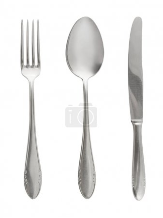 Photo for Fork, spoon and knife isolated on white background - Royalty Free Image