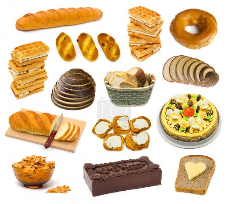 Set of bread and cakes