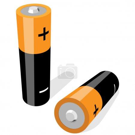 Illustration pour Illustration vectorielle de deux piles AA isolées sur fond blanc. Aucun gradient ni effet  . - image libre de droit