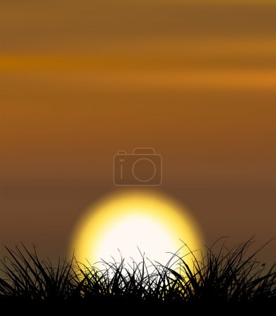 Illustration for Background illustrating sunset with the grass shape in the front - Royalty Free Image