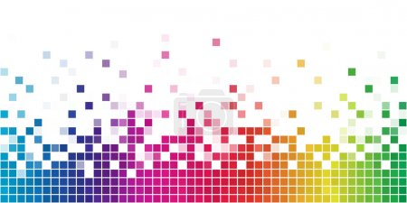 Illustration for Colorful rainbow square mosaic with white copy space. - Royalty Free Image
