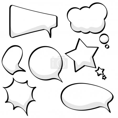 Illustration for Cartoon sketchy speech and thought bubbles isolated on white background. - Royalty Free Image