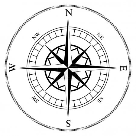 Illustration for Compass winds rose black and white vector shape. - Royalty Free Image
