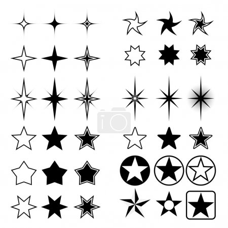 Vector collection of stars shapes isolated on white background.
