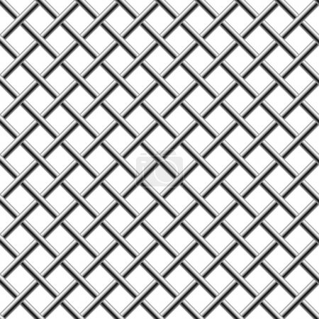 Illustration for Seamless chrome braided diagonal grille isolated on white. - Royalty Free Image
