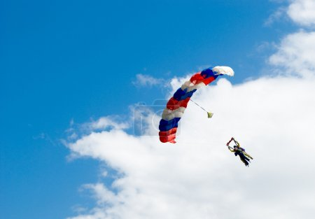 Photo for The first jump with the instructor on a parachute - Royalty Free Image