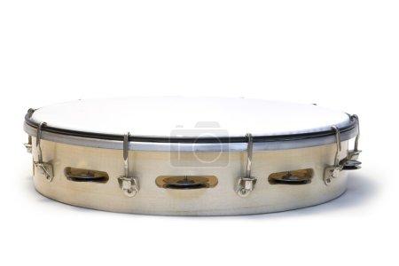 One white tambourine isolated on white background...