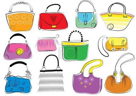 Illustration pour Sacs de mode vectoriels Sacs couleur - image libre de droit