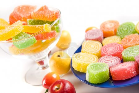 Photo for Colorful sweets and fruits on table - Royalty Free Image