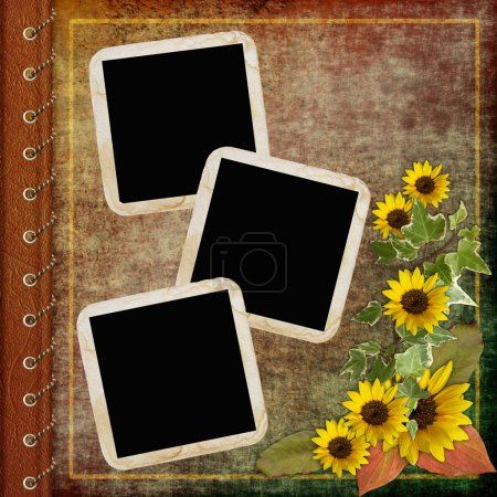 Photo for Album cover with frame and flowers - Royalty Free Image