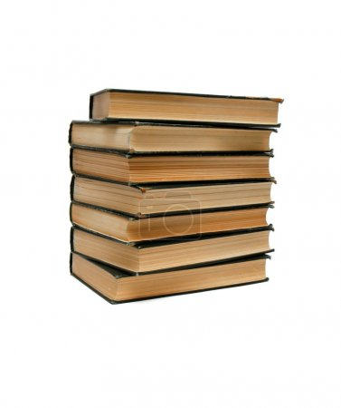 Stack of old books seen from ends