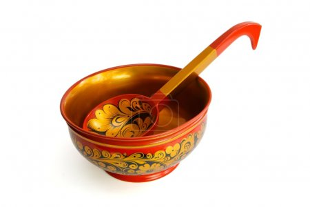 Russian wooden painted bowl with ladle