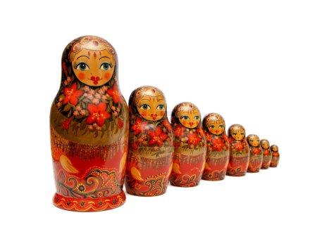 Row of Russian Babushka nesting dolls