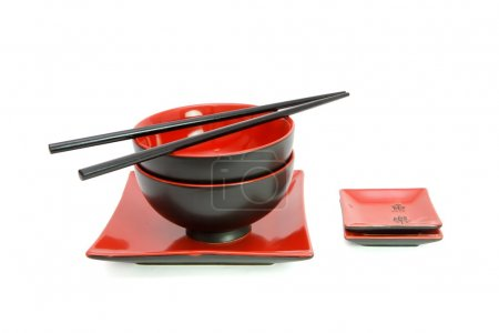 Red and black oriental table set isolate